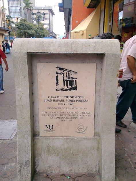 Placa de la casa de Juan Rafael Mora