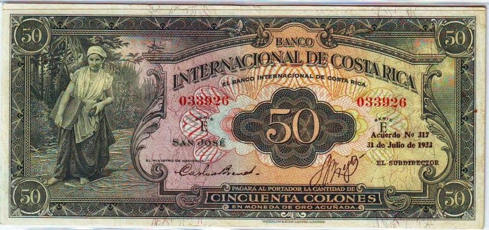 Image result for Billete de 50 colones, banco internacional de costa rica, 1933