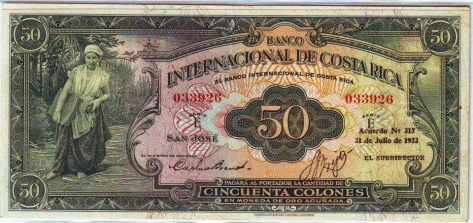 Image result for Billete de 50 colones, banco internacional de costa rica, 1933