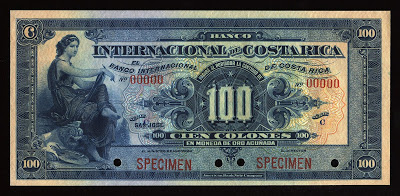 Image result for Billete de 100 colones, Banco Internacional de Costa Rica, 1919