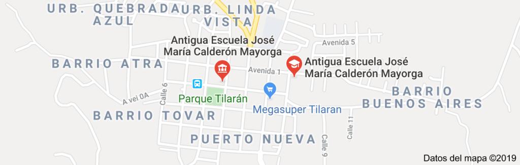 Mapa de Antigua Escuela José María Calderón Mayorga, Tilarán, Guanacaste